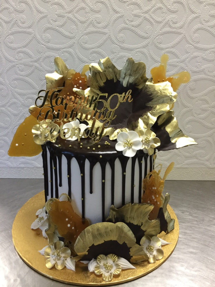 Dark Chocolate and caramel shard birthday cake