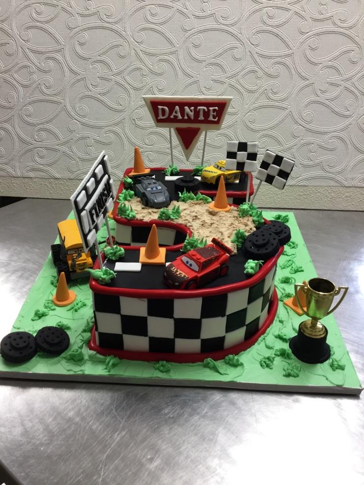 Cars theme racetrack cake