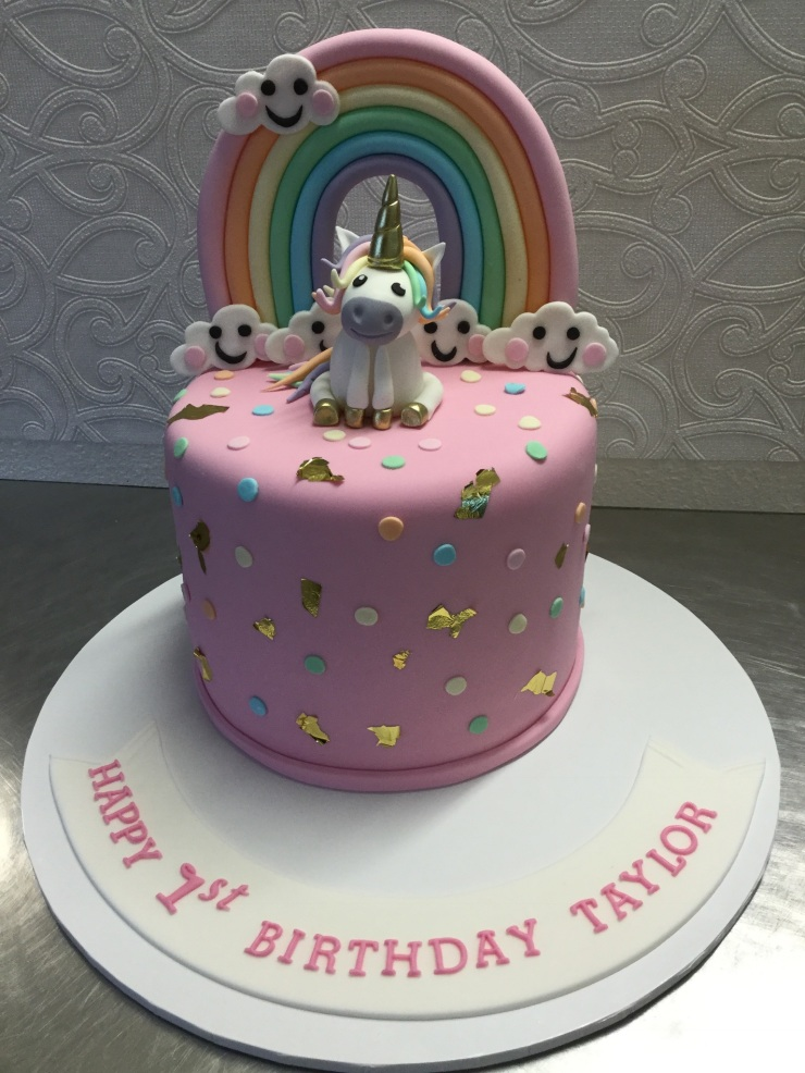 Unicorn rainbow cake with clouds