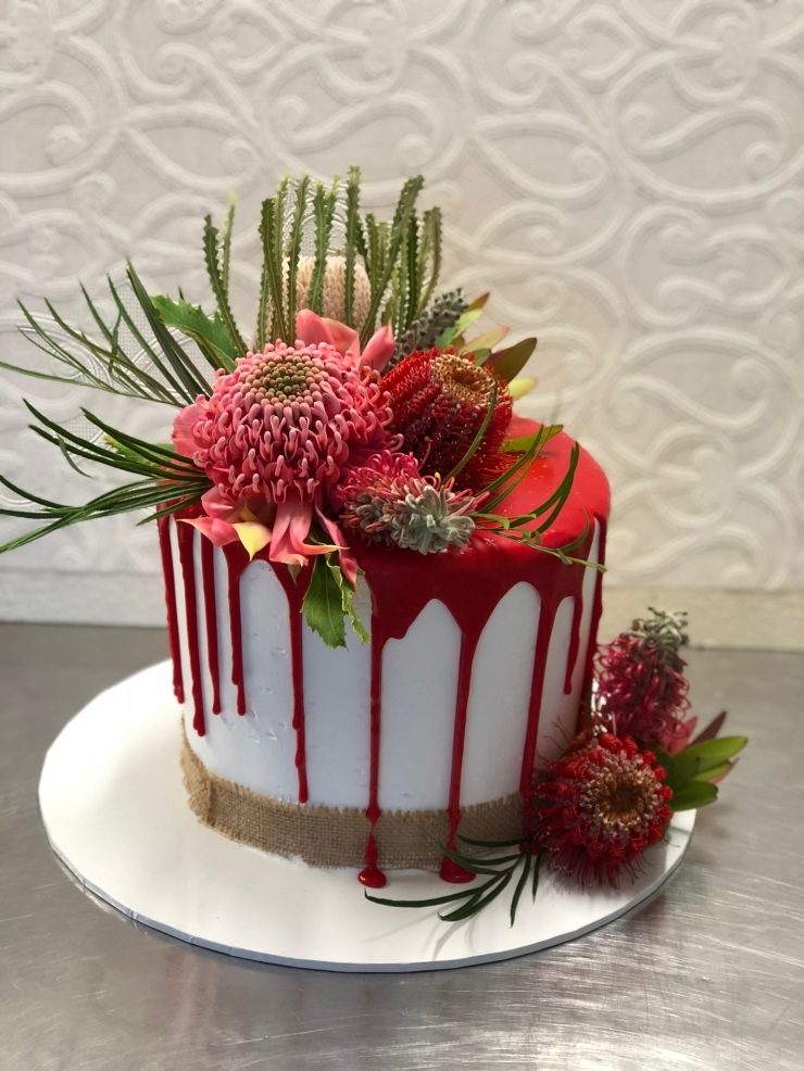 Red fresh Australian Wildflower cake
